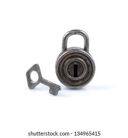 Metal padlock isolated on white background