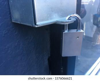 Metal Padlock Securing Metal Lock Box