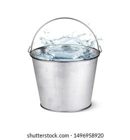 Metal pail full of water
