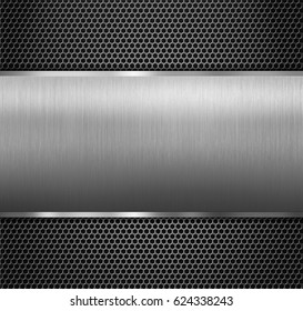 metal panel over hexadecimal grid 3d illustration