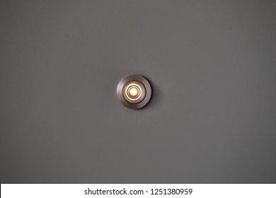 Metal peephole or peep hole on a door