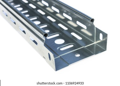 Metal perforated tray for laying cable routes
