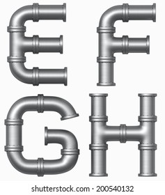 metal pipe alphabet. Industrial letters. Added clipping path