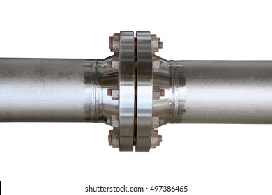 Metal pipe flanges with bolts on an isolated background. Pipe line in oil and gas industry and installed in plant or process. Pipe line under maintenance job and inspection the pipe by schedule.