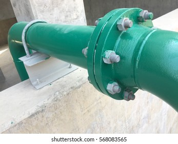 Metal pipe flanges with bolts , Pipeline power plant