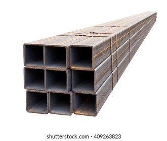 metal pipe profile isolated on white background stock photo