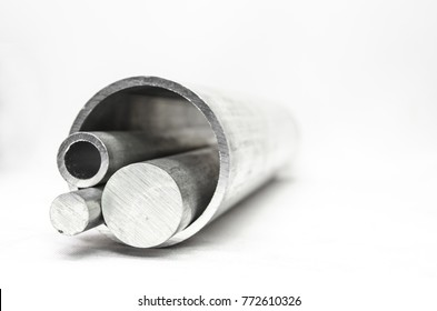 Metal pipelines profile on white background