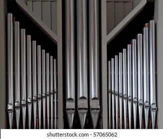 Metal pipes from danish church organ