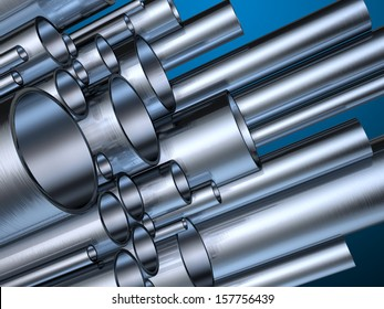 Metal pipes in different sizes. Digital illustration with clipping path included.