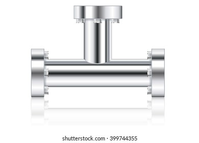 Metal pipes with flange.   illustration isolated on white background. Raster version