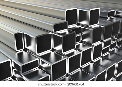Metal pipes on warehouse. 3d illustration