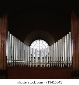 Metal pipes of pipe organ in a church