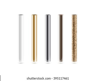 Metal pipes set isolated on white. Shiny metallic cylinder pipe, silver, grey, golden, chrome, steel, rusty. Gold pole design. Glossy color stick gradient graphic design. Rust column tube with hole.