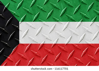 Metal place surface with the flag of Kuwait