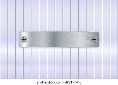 Metal plate on steel background. Nameplate. Illustration. Raster version