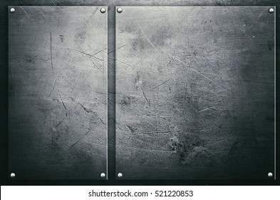 Metal plate with rivets on steel background