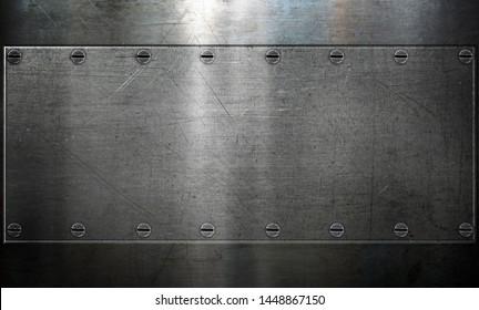 Metallplatte mit Nieten, polierter Stahlrahmen