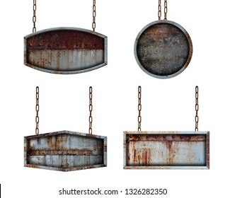 Metal plate signboard with chains isolated on white background