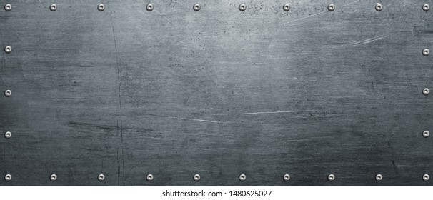 Metal plate, steel banner with rivets