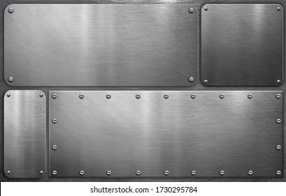 Metal plates on steel background, grunge background