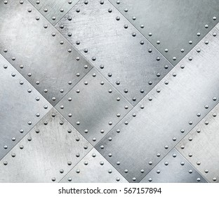 Metal plates rotated 45 degrees with rivets background or texture