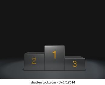 metal podium winner on dark background.3D rendering