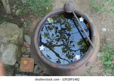 A metal pot filled with water with floating petals of flowers, and a scoop lying on the edge