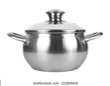 Metal pot with glass lid, isolated on white background