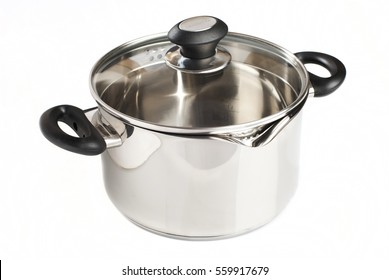 Metal pot with glass lid and plastic handles isolated on white background