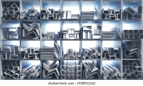 Metal profiles of different kinds are located in the metal products warehouse