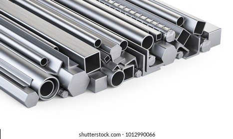 Metal profiles and pipes stack. Warehouse for construction materials. Isolated over white background 3d illustration.
