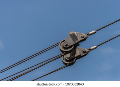 Metal pulley with sling.
