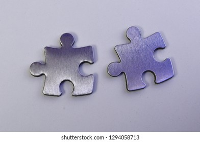 metal puzzle on a white background