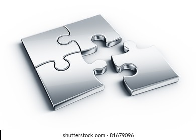 Metal puzzle pieces on a white floor