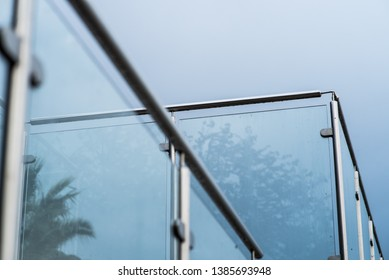Metal railings and glass wall outdoor