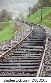 metal railway in summer time