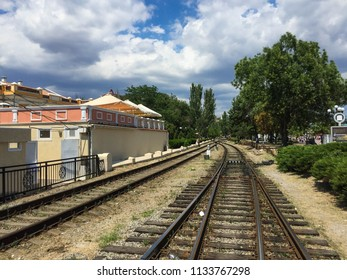 metal railway, transportation concept