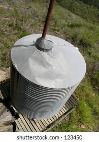 Metal rainwater tank.
