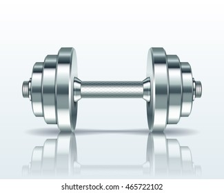 Metal realistic dumbbell isolated on white background. Realistic  illustration.