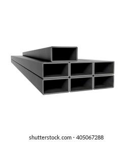 Metal rectangular beams at white background