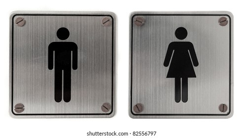 metal restroom Signs isolated over white background