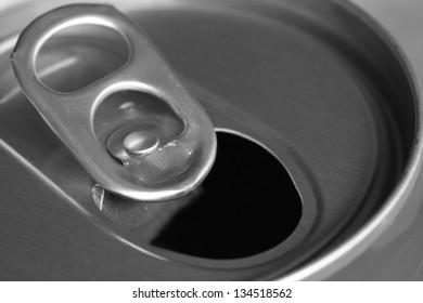 metal ring of can opened background, food and beverage background