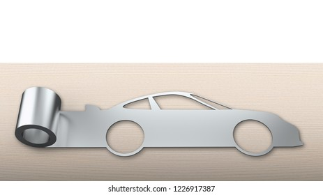 Metal roller sheet in sport car shape on wooden table and white background, concept of energy saving.
