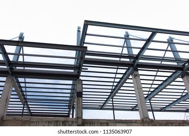 Metal roof construction on top new building