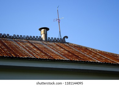 Metal Roof with Lightning Rod