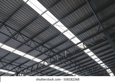 Metal roofing on commercial construction of modern building complex