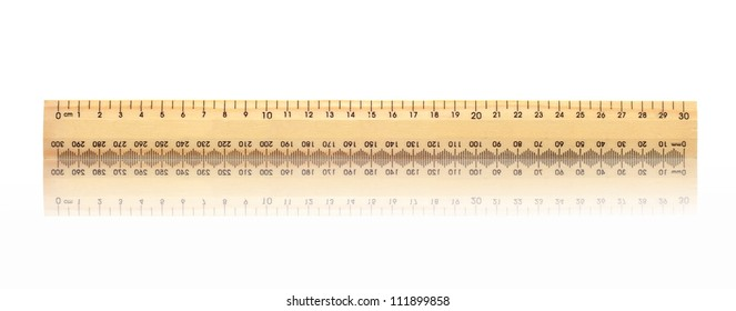 A metal ruler isolated against a white background