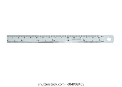 Metal ruler. Isolated on white background with clipping path