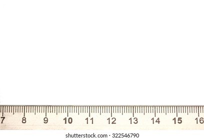 metal ruler macro on white background