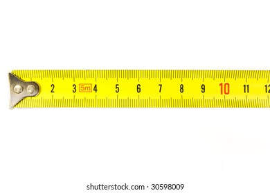 Metal ruler on the white backgroung.